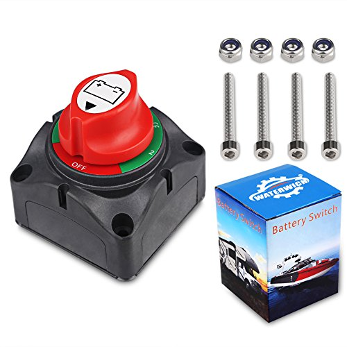 (WATERWICH DC12-60V Dual Battery Disconnect Switch Kit 1-2-both-off Isolator Selector Marine Battery Switches 200/1250 Amp Waterproof for Ship Boat Small Yacht RV Camper Truck Car (1-2-Both-Off Switch))