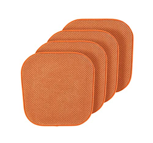 GoodGram Premium Soft Surface Ultra Comfort Non-Slip Kitchen & Dining Memory Foam Chair Cushions – Assorted Colors (Spice, 4 Pack)