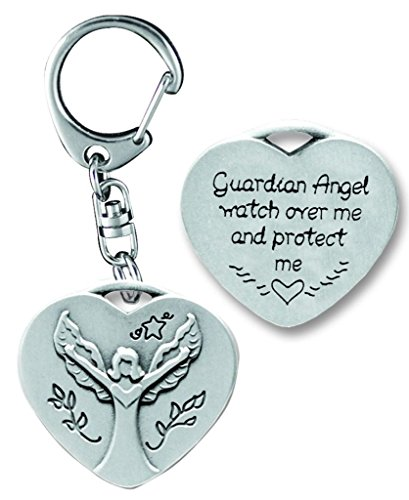 Cathedral Art KR308 Guardian Angel Heart Decorative Key Ring, (Pewter Guardian Angel Key Ring)