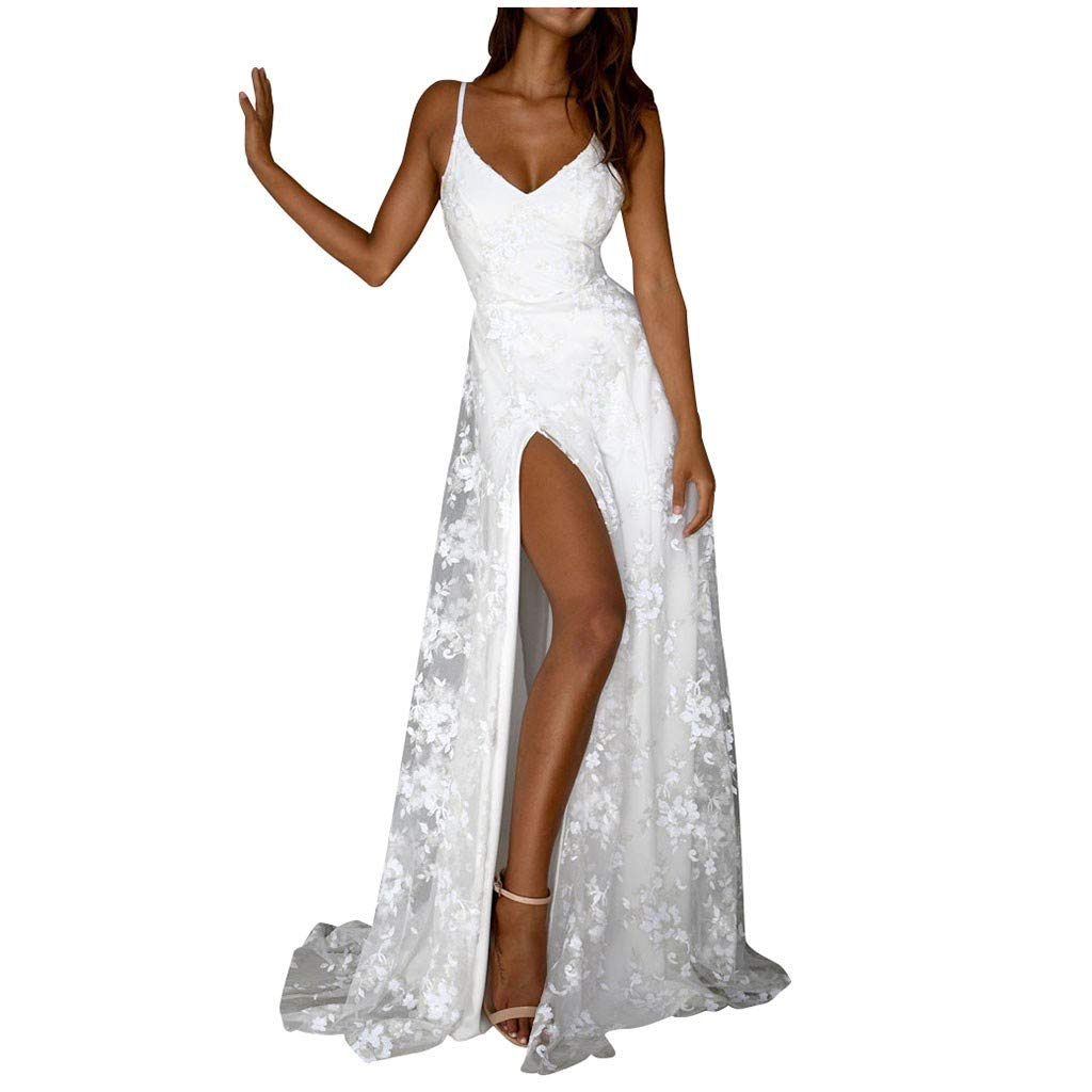 Split Dress for Women Fashion Women Summer Sexy Sleeveless Strap Backless V-Neck Party Long Dress Lover' Gift (WhiteWhite)