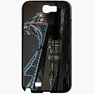 Unique Design Fashion Protective Back Cover For Samsung Galaxy Note 2 Case London Night River Bridge Lights Black