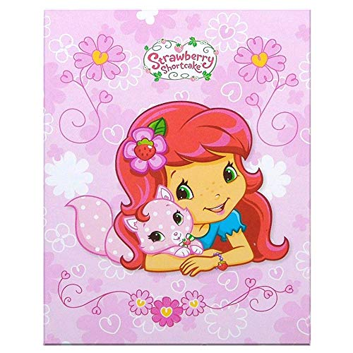 - Strawberry Shortcake Tri-Fold Vanity Mirror and Memo Pad - Kitty - Pink with Floral Background.