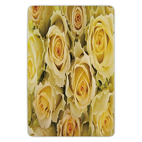 Yellow Carpet Rose - Bathroom Bath Rug Kitchen Floor Mat Carpet,Rose,Bridal Flourish Yellow Roses with Wavy Petals Feminine Romantic Close Up View Decorative,Yellow Pale Green,Flannel Microfiber Non-slip Soft Absorbent