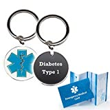 "Pre-engraved ""Diabetes Type 1"" Medical Alert Identification Star of Life Cloisonné' Keychain"