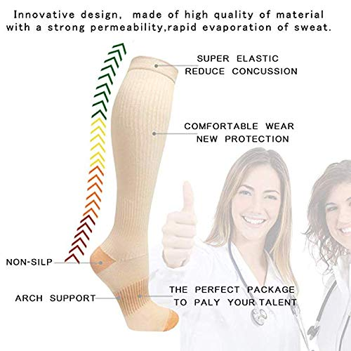Copper Compression Socks For Men&Women -3 Pairs - Best Recovery Support Socks For Running,Athletic,Medical,Pregnancy and Travel -15-20mmHg (Nude, L/XL) by FuelMeFoot (Image #5)