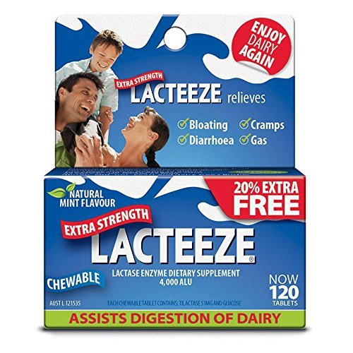 Lacteeze Extra Strength 120 chewable tablets Mint by Lacteeze