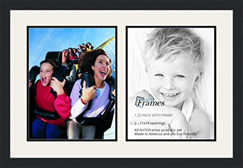 ArtToFrames Double-Multimat-49-61/89-FRBW26079 Collage Photo Frame Double Mat with 2-11x14 Openings and Satin Black Frame, Super White, 2-11x14