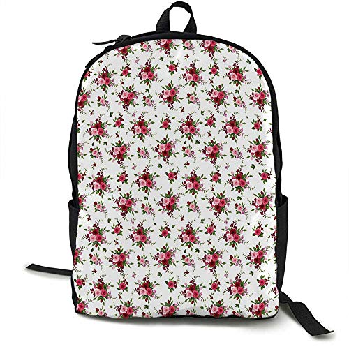 (Flowers Light travel backpack Bridal Bouquets Pattern with Roses and Freesia Romantic Victorian Composition Multi-functional daily carrying 16.5 x 12.5 x 5.5 Inch Pink Ruby Green)