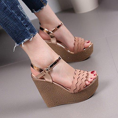 Sandales Talon Mot Pente Ultra Épais Couleur Chaussures Rayures SHOESHAOGE Imperméable unie Saison Taiwan De Boucle Bas Un Toe À Talon 12Cm q4A7x5t