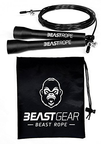Beast Gear Skipping Rope – Steel Speed Jump Ropes for Adult Fitness – Lightweight, Adjustable Workout Equipment for…
