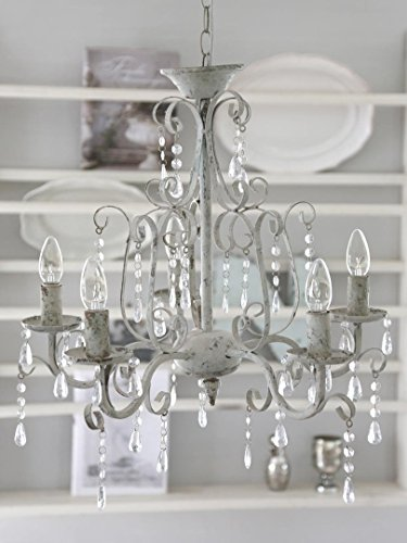 shabby chic 5arm chandelier antique white metal chandelier ceiling light amazonco - Shabby Chic Chandelier