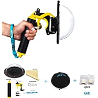 TELESIN 6 Inch Dome Port Protective Dome Cover with Pistol Trigger for GoPro Hero 4 Hero 3plus Hero 3, Waterproof Transparent Housing Case, Go Pro Underwater Photography Accessories Kit (Yellow)