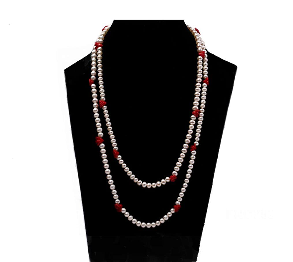 JYX 6-7mm White Round Freshwater Pearl Necklace with Red Coral Flower