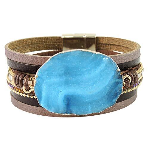 (Turquoise Network Wrap Bracelets for Women Gemstone Style Faux Leather (Aqua)