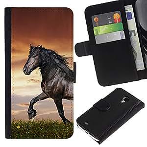 YiPhone /// Tirón de la caja Cartera de cuero con ranuras para tarjetas - Hermoso Caballo Negro - Samsung Galaxy S4 Mini i9190