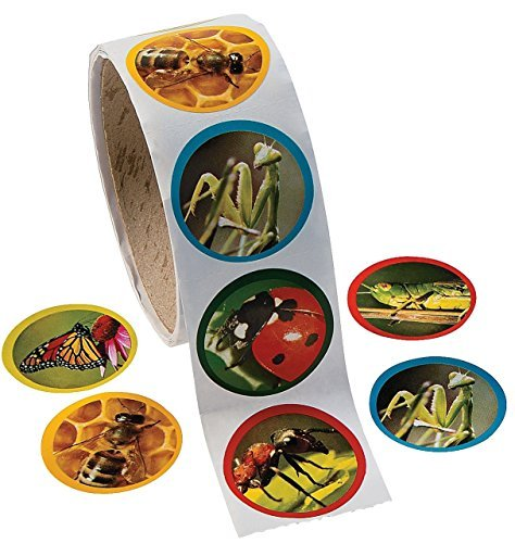 Fun Express 1 Roll Realistic Bug/Insect Stickers (100 Piece), 1.5