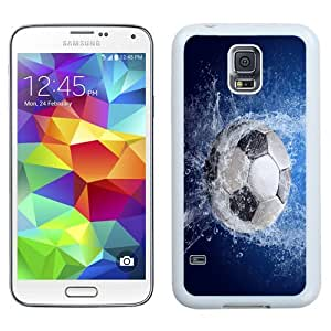 Easy use Cell Phone Case Design with Football Soccer Ball Splash Galaxy S5 Wallpaper in White