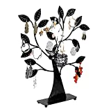 HOUSWEETY 1PC Black Earring Tree Bird Nest Jewelry Display Stand Holder