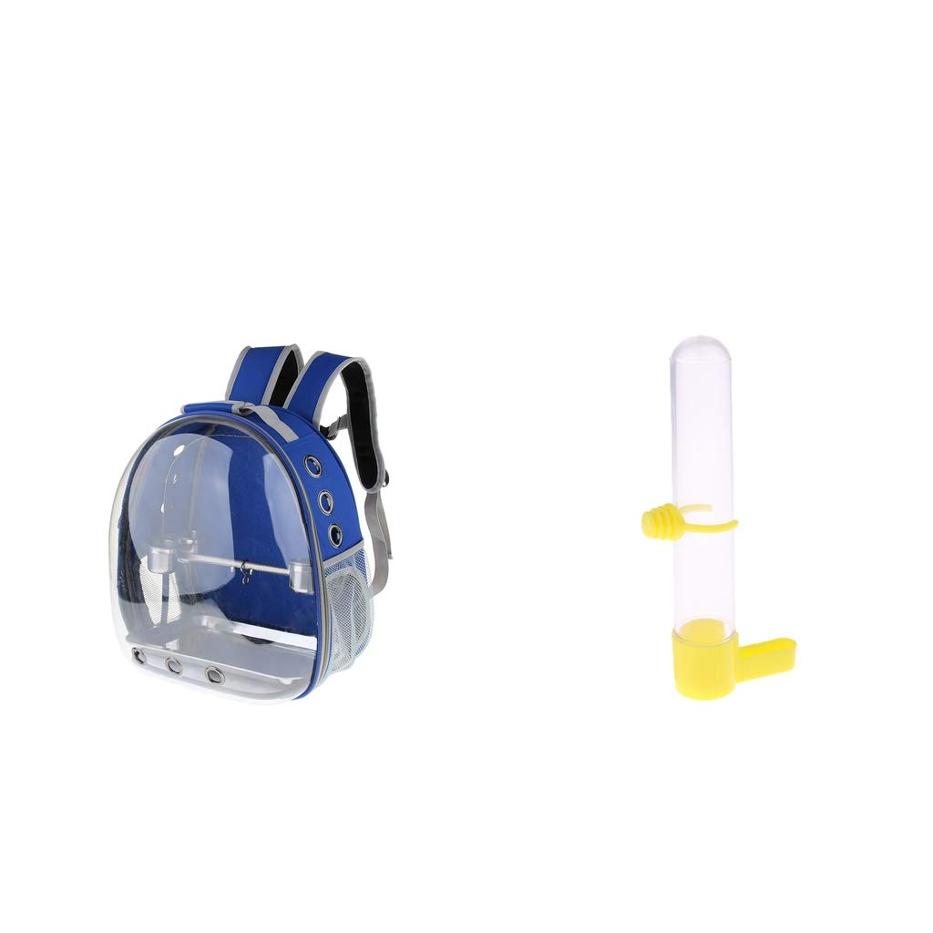 P Prettyia Bird Parred Clear Cover Backpack with Perch Stand and Bird Water Drinker Food Feeder W Clip, bluee