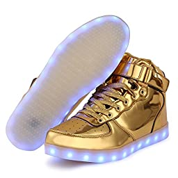 TUTUYU Kids 11 Colors LED Shoes High Top Fashion Sneakers For Halloween Golden 37