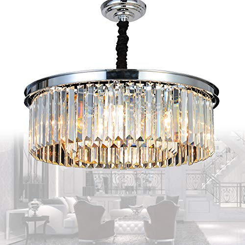 MEELIGHTING Crystal Chrome Chandelier Modern Chandeliers Lighting Pendant Ceiling Light Fixture 2-Tier for Dining Room Living Room Kitchen Island W21.6″ Review