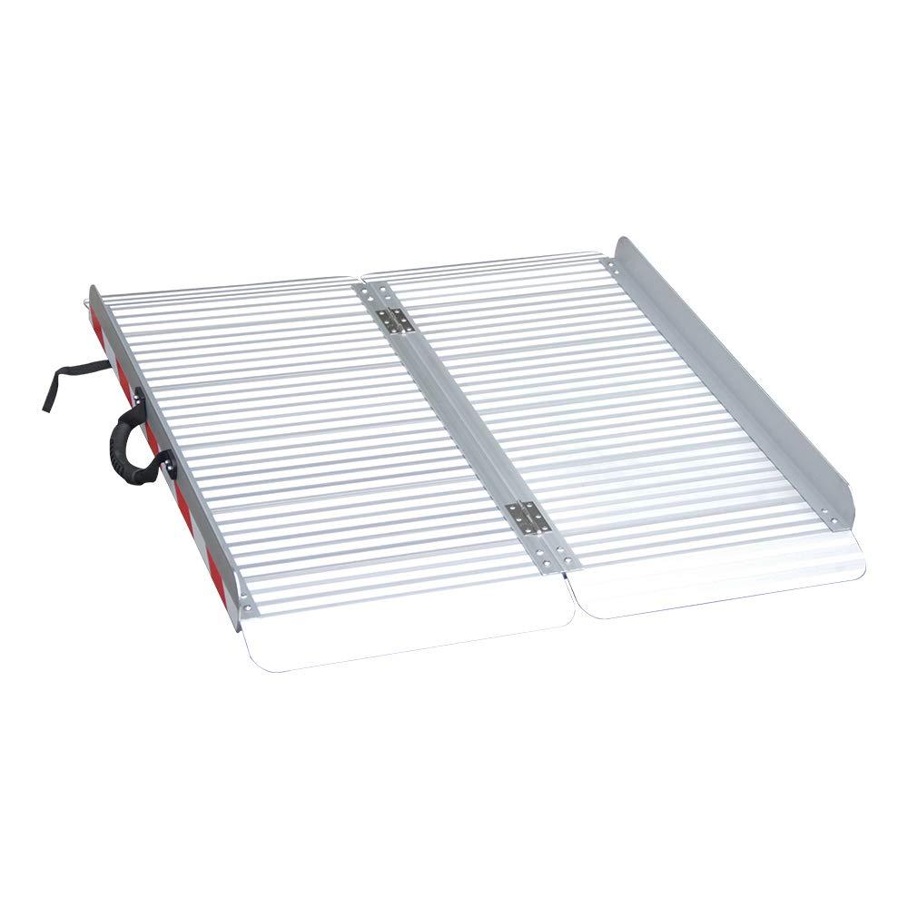 Ruedamann 3' x 33.4'' Portable Wider and Stronger Aluminum Folding Wheelchair Ramp,Load-bearing 800 Lbs  (MR607X-3)