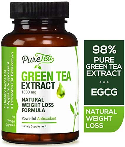 Green Tea Extract 98% with EGCG for Weight Loss 1000mg - Boost Metabolism for Healthy Heart - Antioxidants & Polyphenols for Immune System - Gentle Caffeine - Natural Fat Burner Pills - 60 Capsules