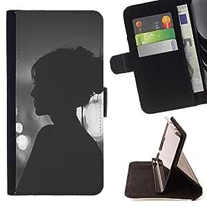"""For Samsung Galaxy Note 5 5th N9200,S-type Viñeta Hipster Mujer Noche"""" - Dibujo PU billetera de cuero Funda Case Caso de la piel de la bolsa protectora"""