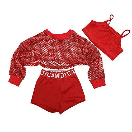 Girls Street Dance Costume Set Jazz Hip-hop Red Net Garment (Street Dance Costume)