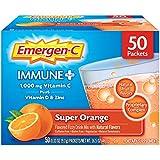 Emergen-C Immune+ Vitamin C 1000mg Powder, Plus Vitamin D And Zinc (50 Count, Super Orange Flavor), Immune Support Dietary Supplement Fizzy Drink Mix, Antioxidants & Electrolytes