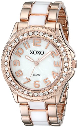 XOXO Womens XO5472 Rose Gold-Tone and White Epoxy Bracelet Watch