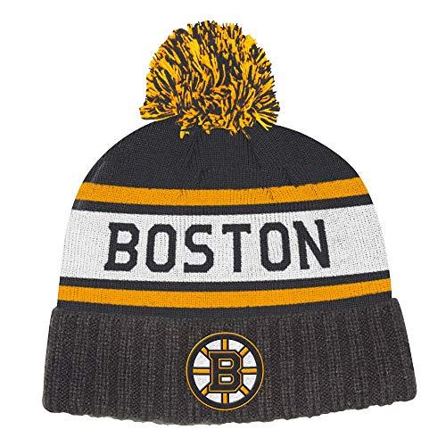 adidas Mens Boston Bruins Culture Cuffed Knit Hat with Pom (Boston Bruins Pom Beanie)