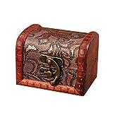 Onegirl Vintage Wooden Mini Jewelry Box for Women Men 8 X 6 X 6cm,Jewelry Storage Box Handmade Box With Mini Bronze Lock For Storing Treasure Pearl Bracelet Earrings Necklace Brooch (B)