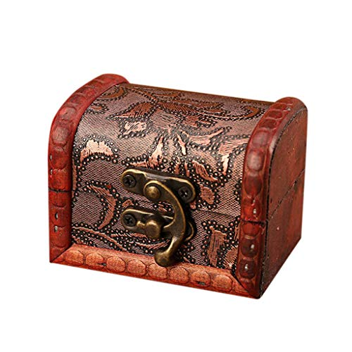 Maikouhai Jewelry Storage, Box Vintage Wood Handmade Box with Mini Metal Lock for Storing Jewelry Treasure Pearl for Necklaces, Rings, Hair Cilps - 8x6x6cm(Brown) (B)