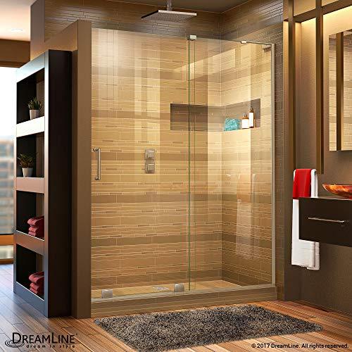 "DreamLine Mirage-X 56-60 in. Width, Frameless Sliding Shower Door, 3/8"" Glass, Brushed Nickel Finish from DreamLine"