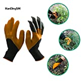 Garden Genie Gloves,Langxian Genie Gloves With Claws for Digging & Planting (One Pair) (Brown)