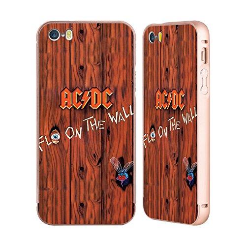 Officiel AC/DC ACDC Flo Sur Le Mur Couverture D'album Or Étui Coque Aluminium Bumper Slider pour Apple iPhone 5 / 5s / SE