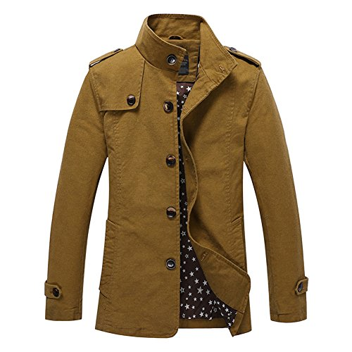 H.T.Niao Jacket8525C3 Men 's Fashion Long Casual Jackets(Khaki,Size (Underbed Spacer)