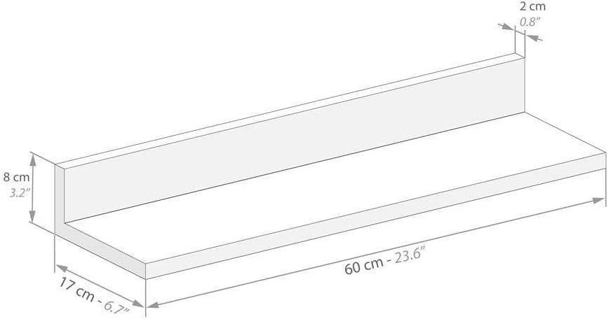 Mobili Fiver de MDF 60 cm Made in Italy Par de estantes Color Olmo Claro Modelo Rachele Aglomerado y Melamina