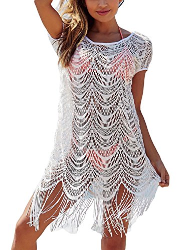 Bsubseach White Lace Tassel Hollow Out Beach Covers Up for Women V Neck Short Sleeve Bikini Swimsuit Cover Up Beachwear