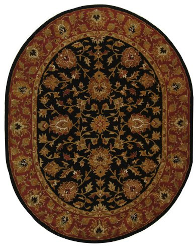 (Safavieh Heritage Collection HG112A Handcrafted Traditional Oriental Black and Red Wool Oval Area Rug (4'6