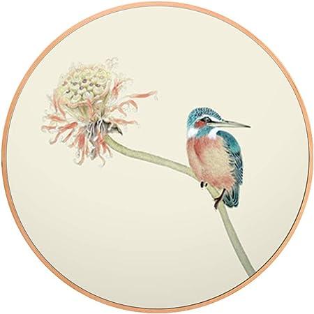 MRW Pintura Decorativa Sala de Estar Porche Flores y pájaros Flores Única Pintura de Marco Redondo (Color : Beige, Size : 60CM): Amazon.es: Hogar