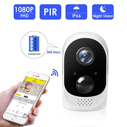 (【2019 New】 1080P Wireless Rechargeable Battery Camera,SMONET Battery Powered Camera Outdoor&Indoor,10400mAh High Capacity for Home Security Camera,PIR Motion Sensor,Night Vision,2-Way Audio,Free)