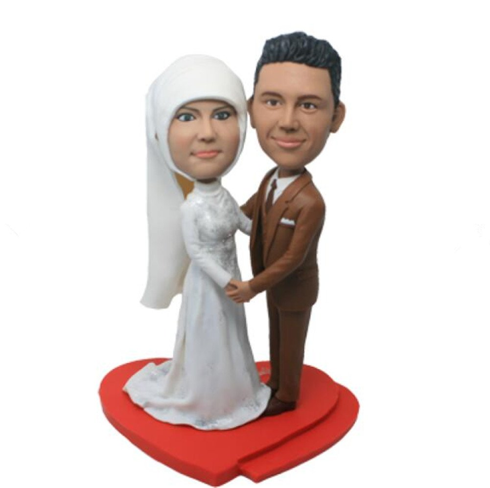 Custom Create Your Own Arabia Wedding Bobble head Polymer Clay Handmade Bobbleheads Cake Toppers by MiniBobbleheads