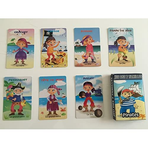 """Jeu des 7 familles """" PIRATES """" sous étui carton refermable. Jeu de 42 cartes"""