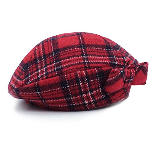 - Keepersheep Baby Girls' Lovely Cute Beanie Hat, Baby Girls' Berets Hat With Bowknot (6-12 Months, Red Plaid)