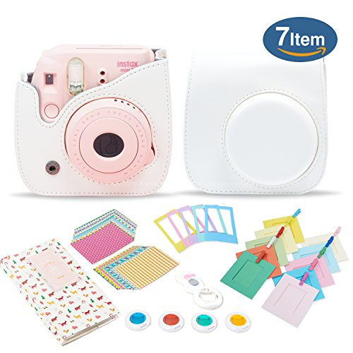 Kamera 7 in 1 Fujifilm Instax Mini 8 9 Accessory Bundle set Gift Pack, White instax mini 8 9 Camera Case with Shoulder Camera Strap and more
