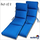 SET OF 2- 22x74x5 Sunbrella Indoor/Outdoor Fabrics in Pacific Blue CHANNELED CHAISE CUSHION by Comfort Classics Inc.