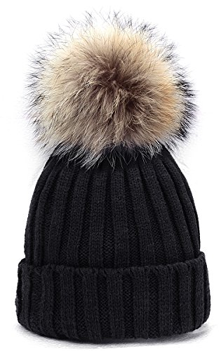 Odema Womens Girls Winter Fur Hat Real Large Raccoon Fur Pom Pom Beanie Winter Hats