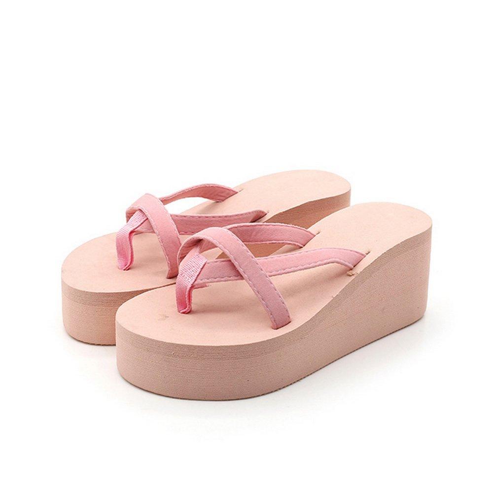 Dihope Damen Mode Flip-Flops Elegant Hausschuhe Zehentrenner Mauml;dchen Schuhe Sommer Sandalen Strand Schuhe Hoher Absatz  40|Pink